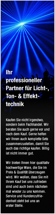 Ihr professioneller Partner f&uuml;r Licht-, Ton- &amp; Effekttechnik